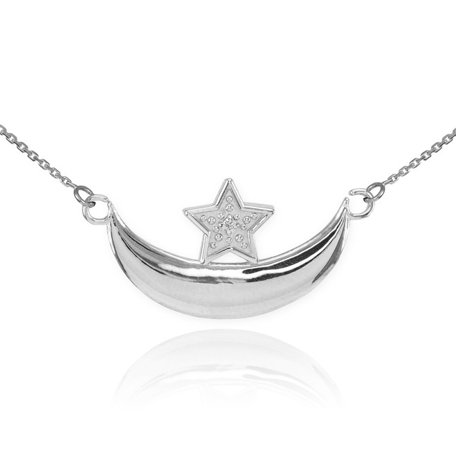 Sterling Silver CZ Crescent Moon and Star Islamic Necklace