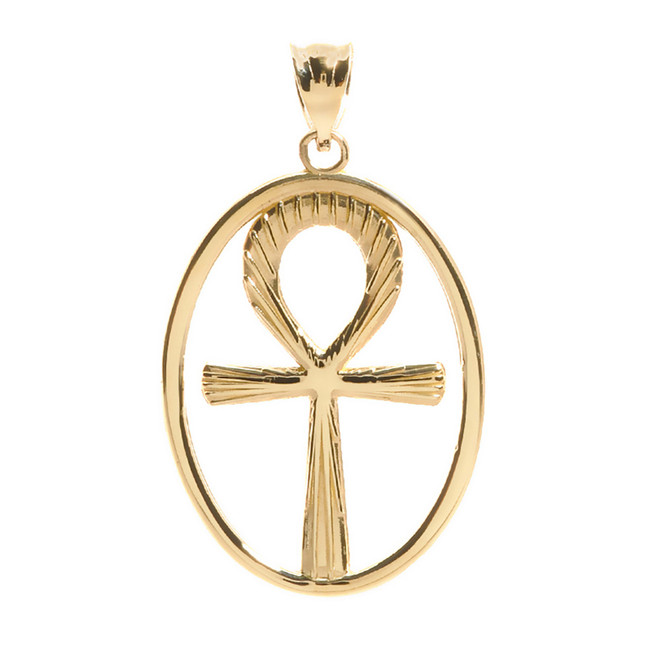 Solid Yellow Gold Egyptian Ankh Cross Pendant
