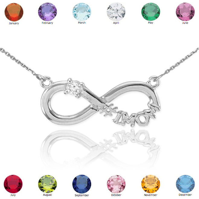 14K White Gold Infinity #1MOM CZ Birthstone Necklace