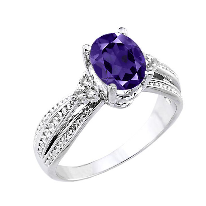 White Gold Genuine Amethyst and Diamond Proposal Ring