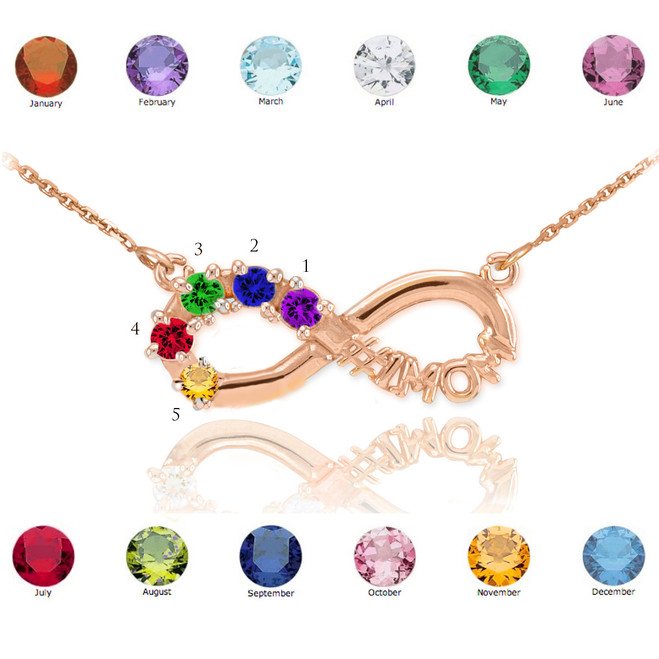 14K Rose Gold Infinity #1MOM Necklace with Five CZ Birthstones