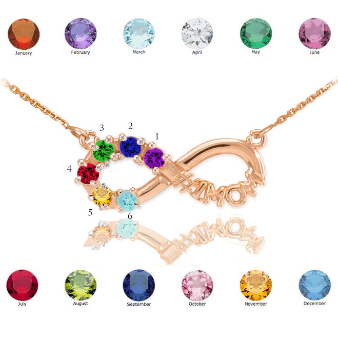 14K Rose Gold Infinity #1MOM Necklace with Six CZ Birthstones