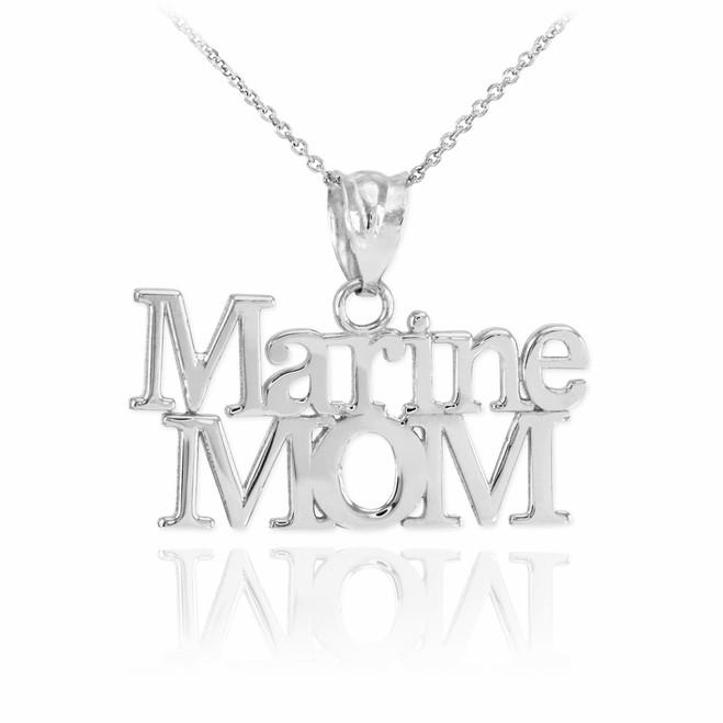 White Gold Marine Mom Pendant Necklace