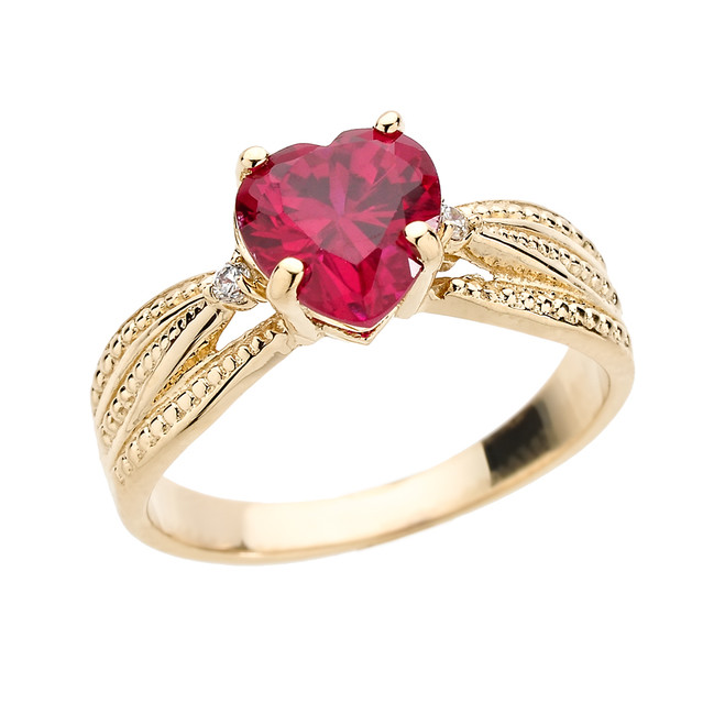Beautiful Yellow Gold Diamond  and Ruby (Lab Created) Proposal Ring