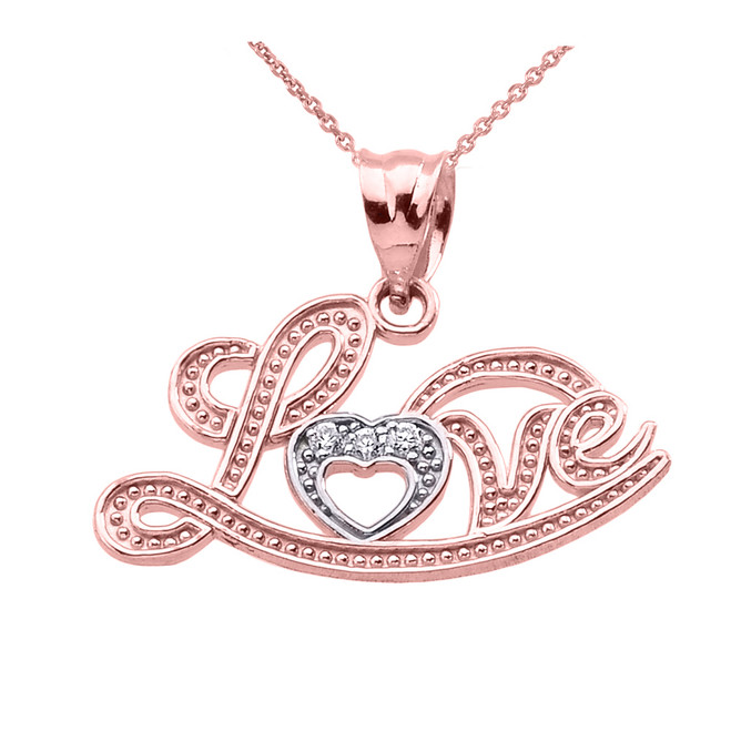 """Love"" Script Rose Gold Diamond Pendant Necklace"