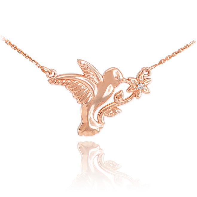 14k Rose Gold Hummingbird with Diamond Flower Necklace