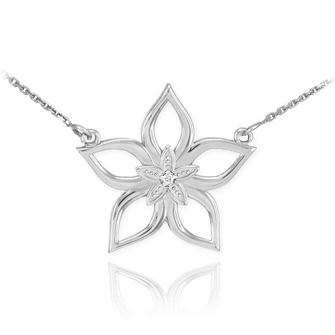 Sterling Silver CZ Star Flower Necklace