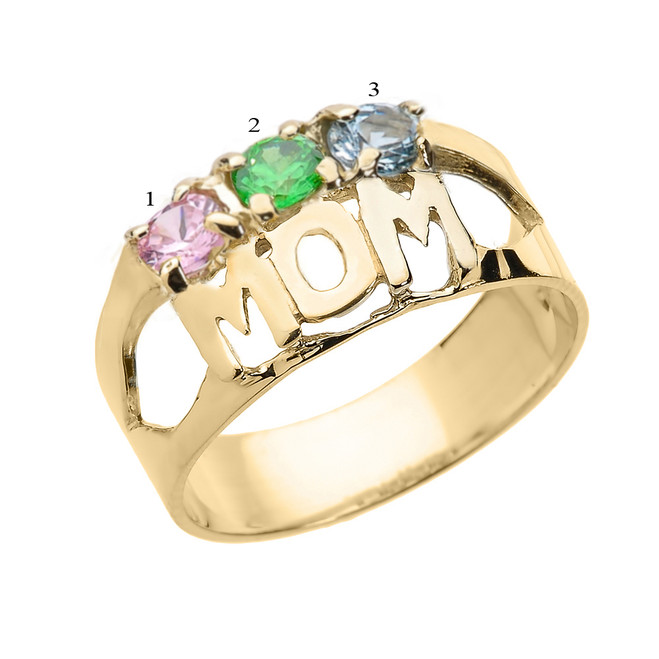 "Yellow Gold ""MOM"" Ring with Three CZ Birthstones"