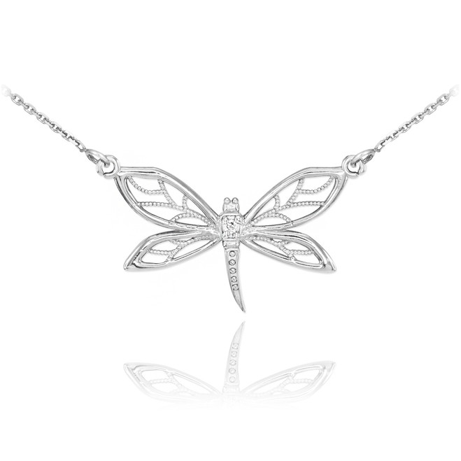 14k White Gold Diamond Dragonfly Filigree Necklace