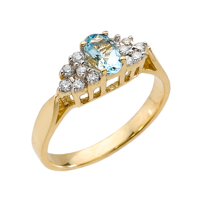 Yellow Gold Aquamarine and Diamond Proposal Ring