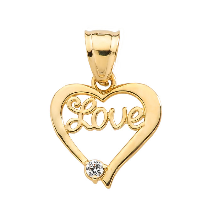 "Yellow Gold ""Love"" Script Diamond Heart Pendant"