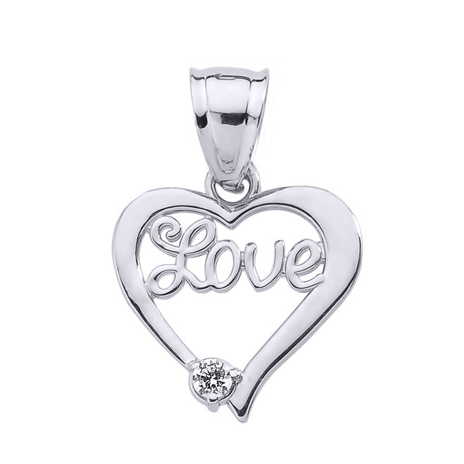"White Gold ""Love"" Script Diamond Heart Pendant"