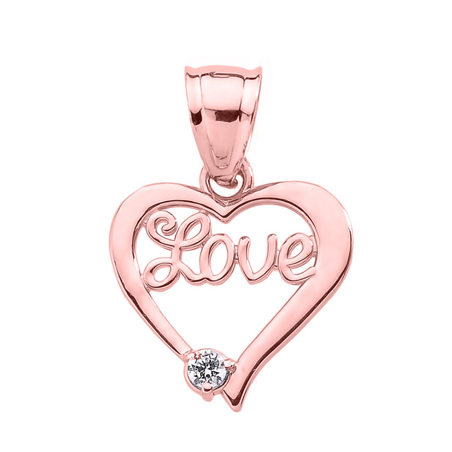"Rose Gold ""Love"" Script Diamond Heart Pendant"
