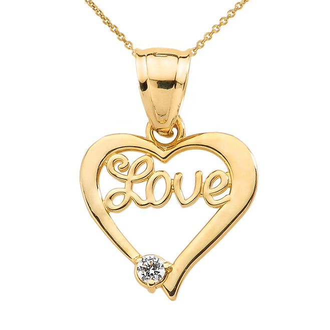 "Yellow Gold ""Love"" Script Diamond Heart Pendant Necklace"