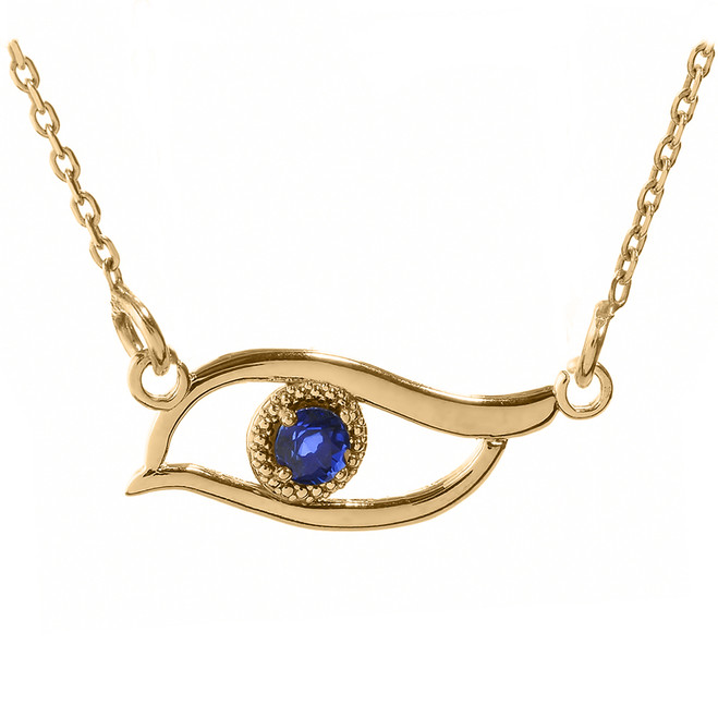 Yellow Gold CZ Sapphire Evil Eye Pendant Necklace