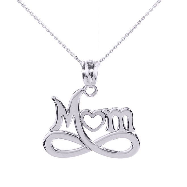 """White Gold Infinity """"MOM"""" Open Heart Pendant Necklace"""