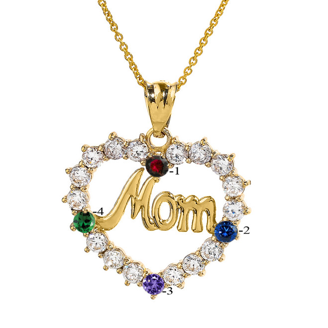 "Yellow Gold ""MOM"" Open Heart Pendant Necklace with Four CZ Birthstones"