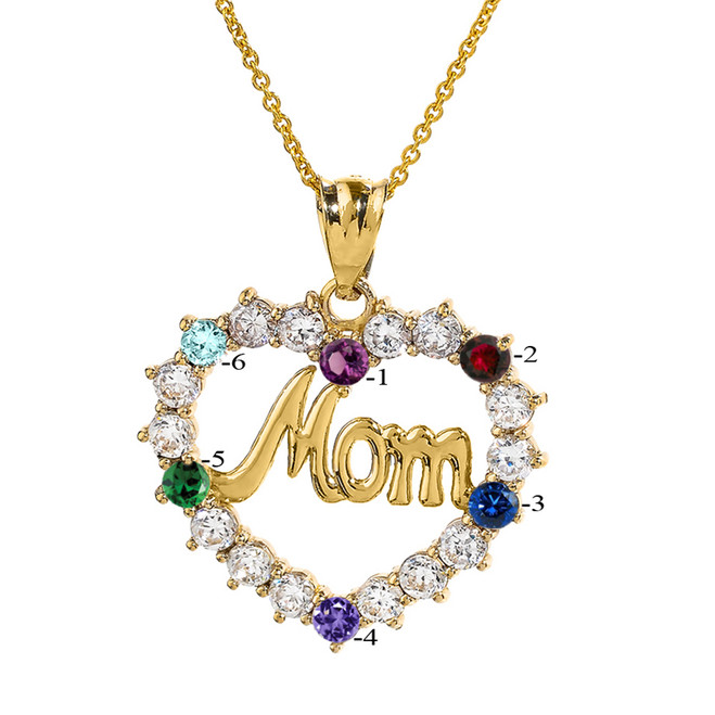 "Yellow Gold ""MOM"" Open Heart Pendant Necklace with Six CZ Birthstones"