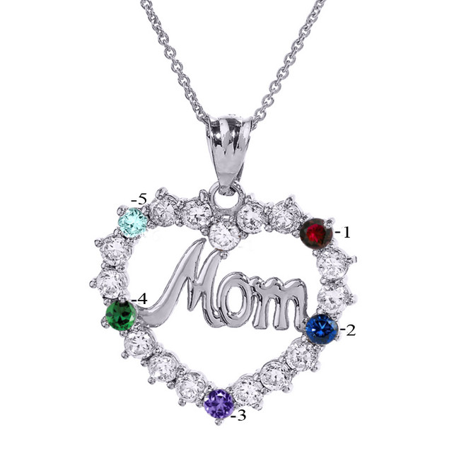 """White Gold """"MOM"""" Open Heart Pendant Necklace with Five CZ Birthstones"""