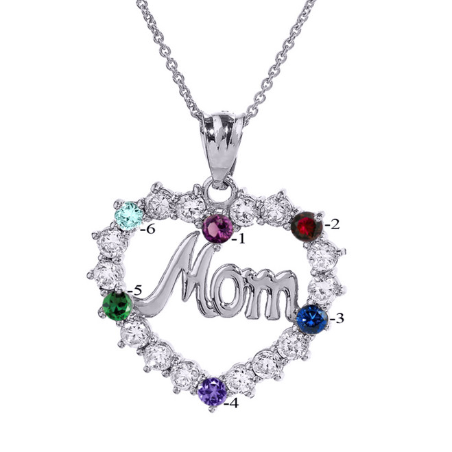 """White Gold """"MOM"""" Open Heart Pendant Necklace with Six CZ Birthstones"""
