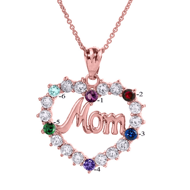 """Rose Gold """"MOM"""" Open Heart Pendant Necklace with Six CZ Birthstones"""