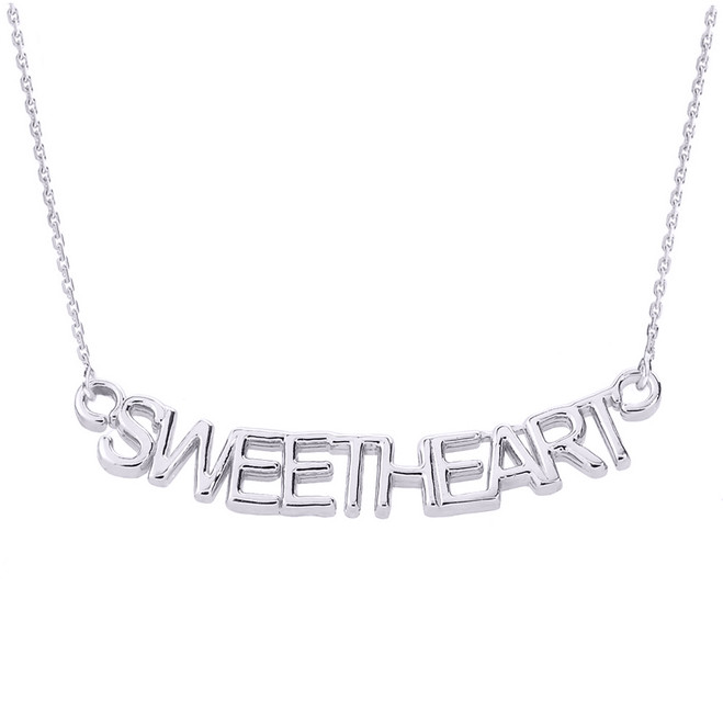 """14K White Gold  """"SWEETHEART"""" Pendant Necklace"""