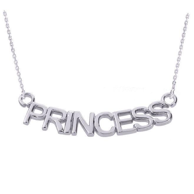 "14K White Gold  ""PRINCESS"" Pendant Necklace"