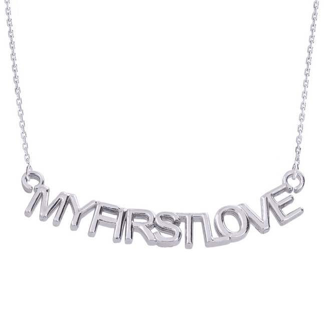 "14K White Gold  ""MYFIRSTLOVE"" Pendant Necklace"