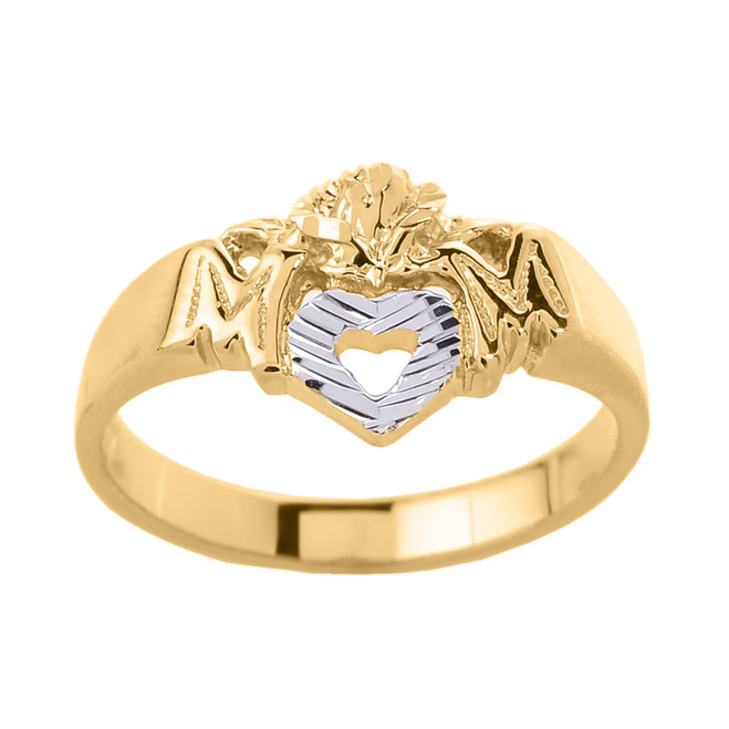 """Yellow Gold """"MOM"""" with Open Heart Mother's Ring"""