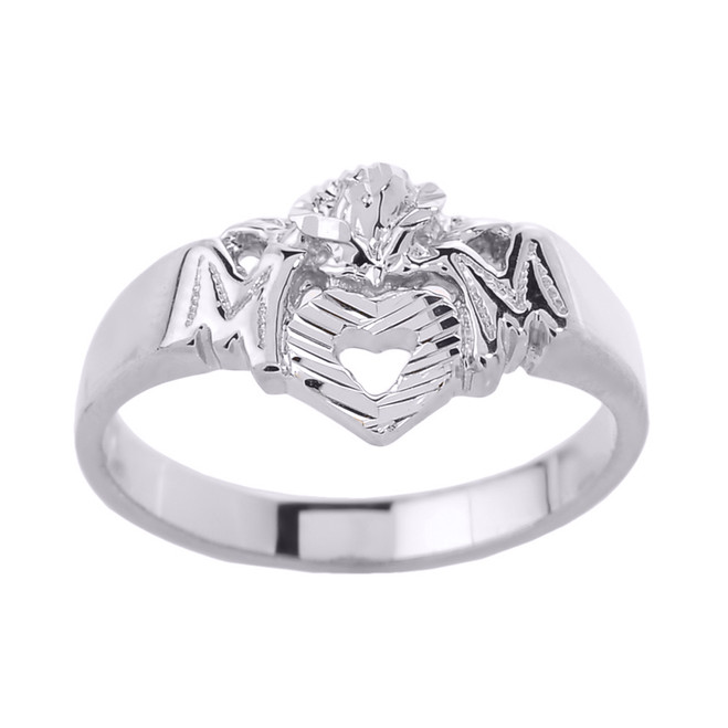 """White Gold """"MOM"""" with Open Heart Mother's Ring"""