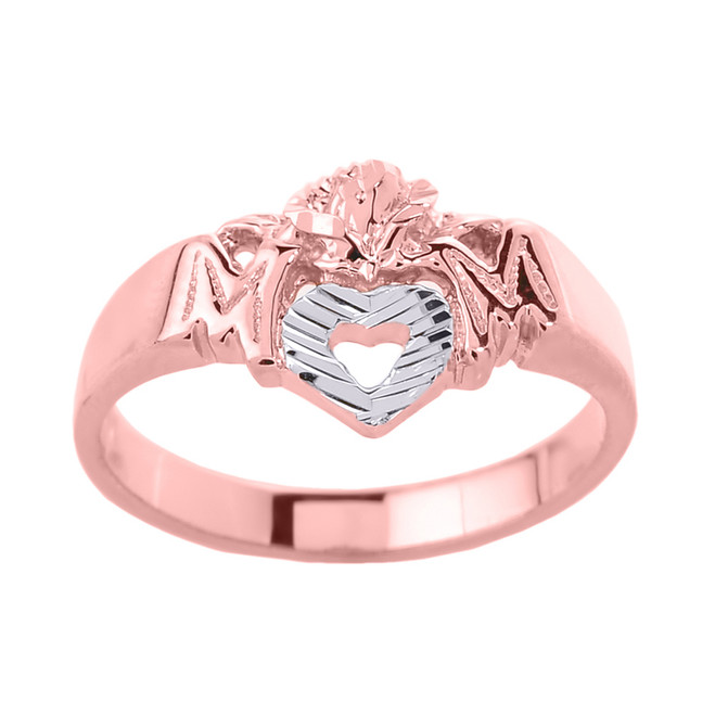 """Rose Gold """"MOM"""" with Open Heart Mother's Ring"""