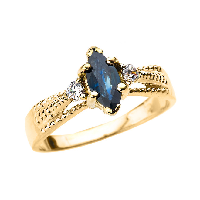 Yellow Gold Genuine Blue Sapphire and Diamond Proposal Ring