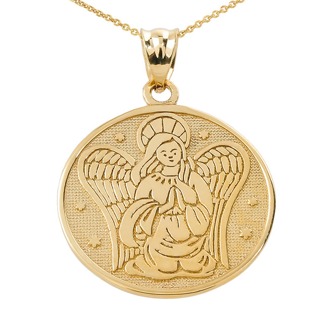 Two Sided Yellow Gold Guardian Angel Charm Pendant Necklace