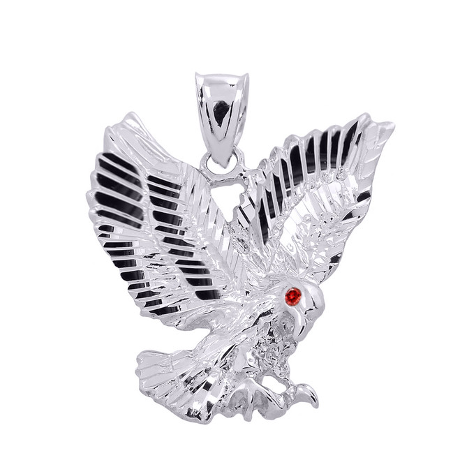 White Gold Diamond Cut Landing Eagle Charm Pendant