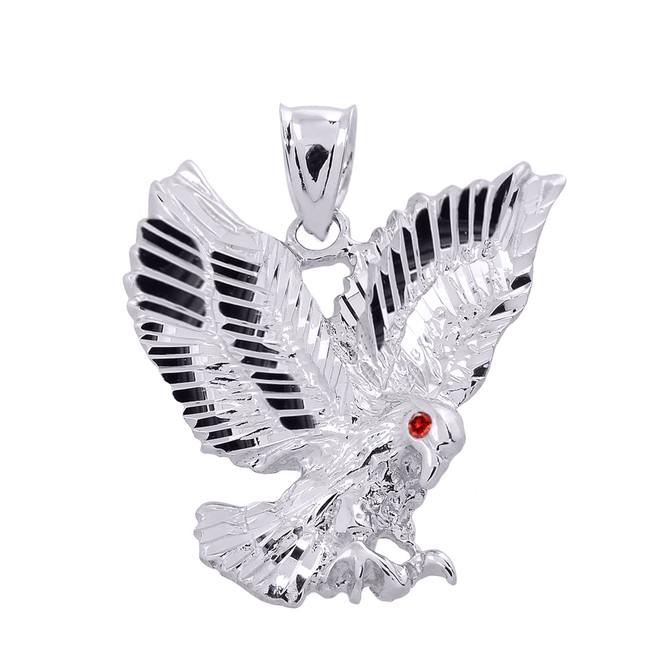 Sterling Silver Diamond Cut Landing Eagle Charm Pendant