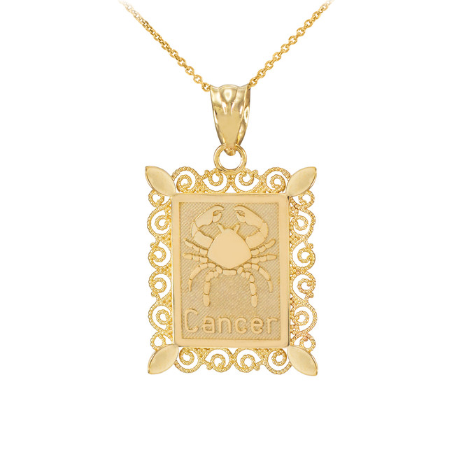 Gold Cancer Zodiac Sign Filigree Pendant Necklace