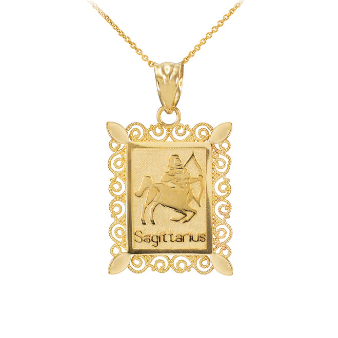 Gold Sagittarius Zodiac Sign Filigree Pendant Necklace