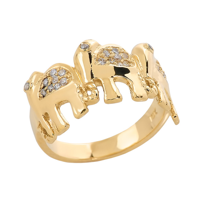 Yellow Gold Diamonds Studded Three Elephant Ladies Ring