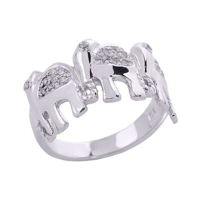 Sterling Silver CZ Studded Three Elephant Ladies Ring