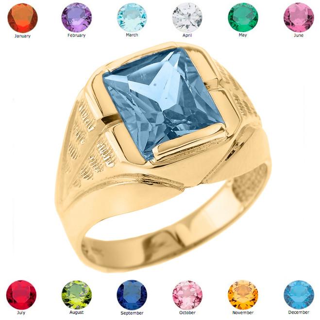 Yellow Gold Gemstone Men's Ring
