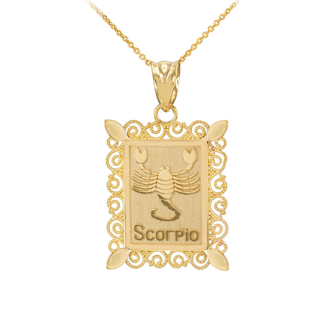 Gold Scorpio Zodiac Sign Filigree Square Pendant Necklace