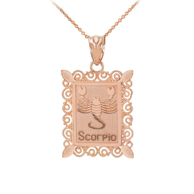 Rose Gold Scorpio Zodiac Sign Filigree Square Pendant Necklace