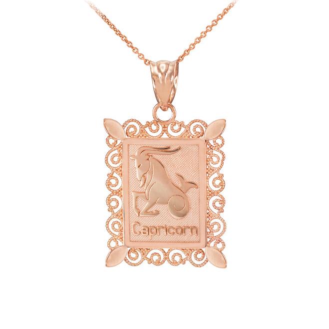 Rose Gold Capricorn Zodiac Sign Filigree Square Pendant Necklace
