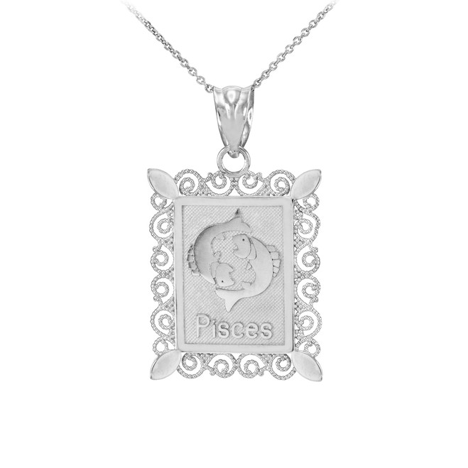 White Gold Pisces Zodiac Sign Filigree Square Pendant Necklace