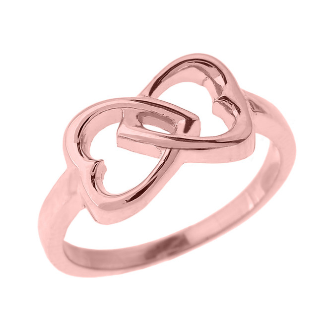 Rose Gold Infinity Double Heart Ring