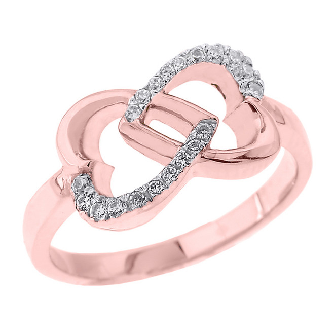 Rose Gold Infinity Double Heart Diamond Promise Ring