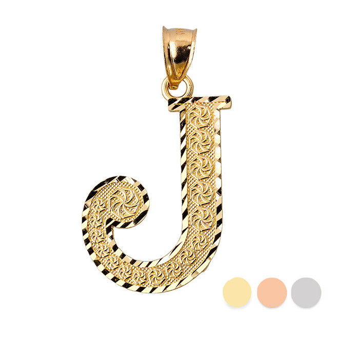 Initial J Gold Charm Pendant
