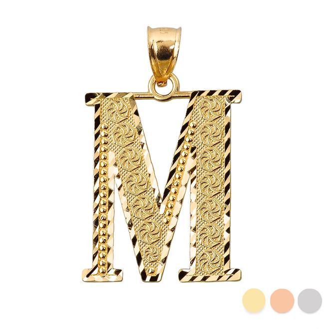 Initial M Gold Charm Pendant