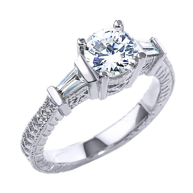 White Gold Three Stone CZ Elegant Proposal Ring