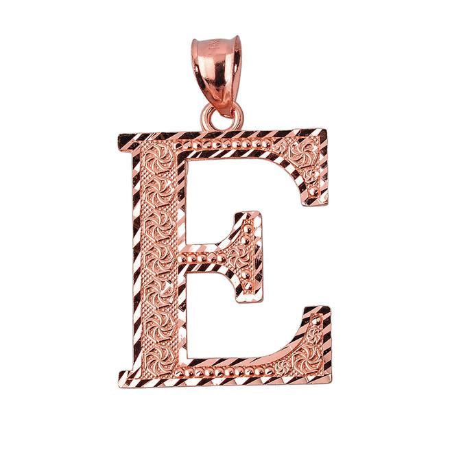 Initial E Rose Gold Charm Pendant